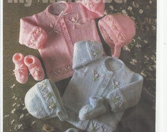 vintage baby knitting pattern for stunning  mattinee set jacket hat /bonnet size 14/20 in chest