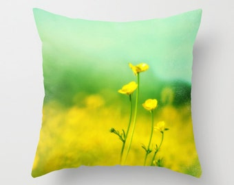 Happy, Smiling, Laughing - Cheerful yellow wildflowers,  Home Decor, Decorative, Throw Pillow Case Cover, Photography,