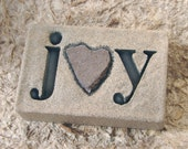 """Love Rocks """"joy"""" Plaque with Natural Found Heart Shaped Rock - Word Wall Stone Art Sign Affirmation"""