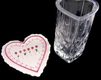 Valentine Avon Vase and Ceramic Heart