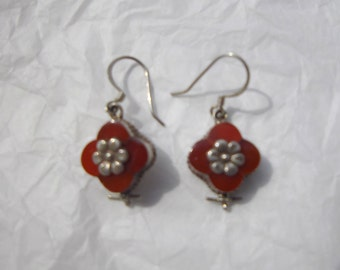 Coral Stones Silver Earrings