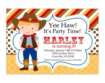 Cowboy Invitation - Brown Gold Red Stripes and Polka Dots, Boy Cowboy Personalized Birthday Party Invite - a Digital Printable File