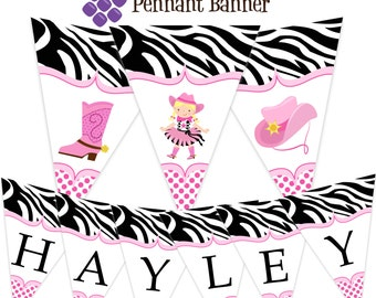 Cowgirl Pennant Banner - Zebra Print and Hot Pink Polka Dots, Cowgirl Hat Boot Personalized Birthday Party Banner - A Digital Printable File
