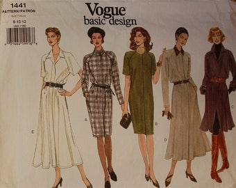 Dress - Straight or Flared -  1990's - Vogue Pattern 1441   Uncut   Sizes 8-10-12  Bust 31.5 - 32.5 - 34""