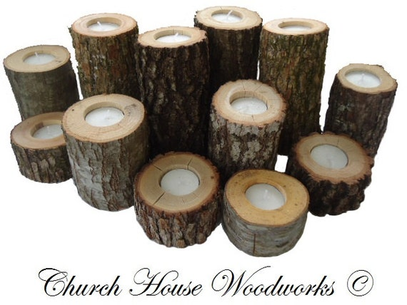 Tree branch candle holders rustic wedding