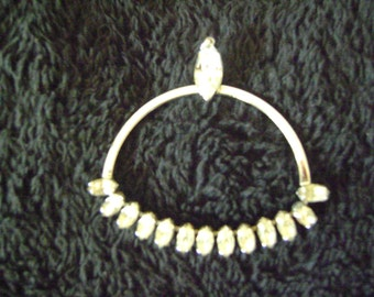 Vintage Silver tone  Rhinestones Pendant