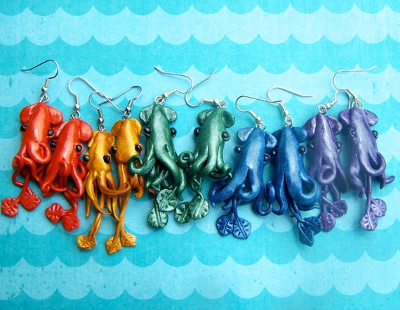 Vibrant Squid Earrings