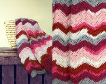 Crocheted chevron striped baby blanket