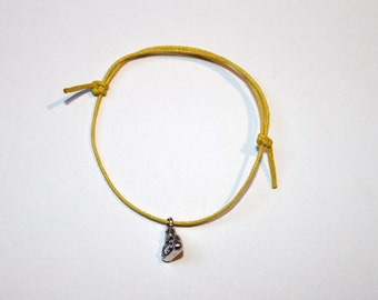 silver buddha charm on waxed cotton cord adjustable friendship bracelet