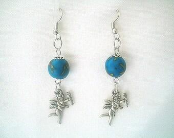 Cupid Valentine Earrings Silver Tone & Blue Beads