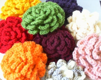 Crocheted Flower for hair or wear as a Brooch