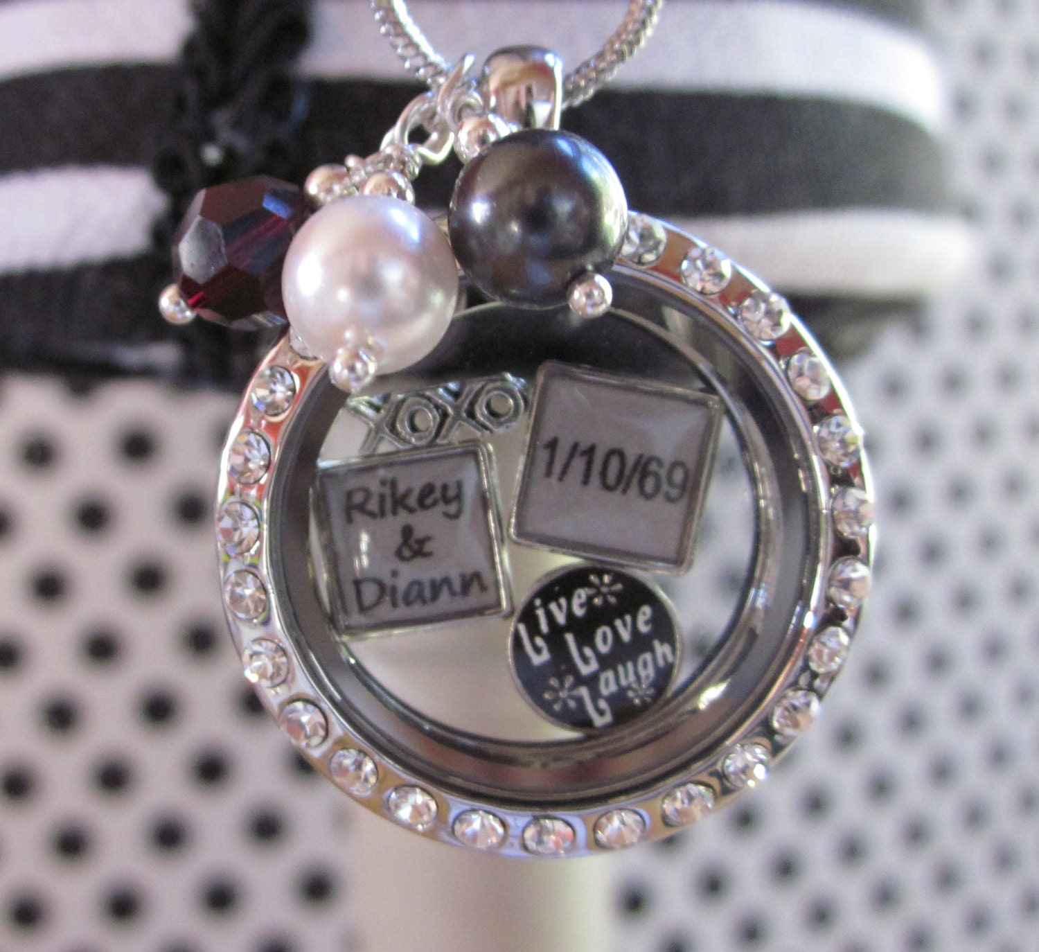floating charm locket for a names and wedding