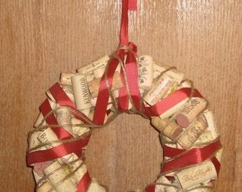 Wine Cork Wreath with Ribbon
