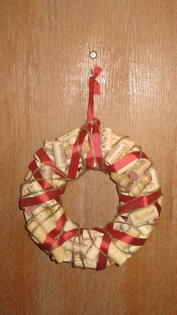Wine cork wreath with ribbon by creativewinecorks on etsy