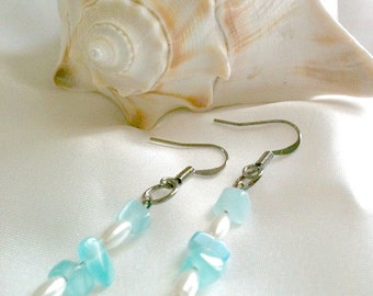 Blue and White Beaded Dangle Earrings Handmade