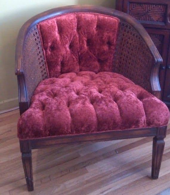 Vintage Cane Side Barrel Chair With Tufted Crushed Velvet