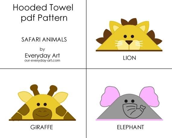 Hooded Towel Pattern - Elephant, Giraffe, Lion (Safari Animals)