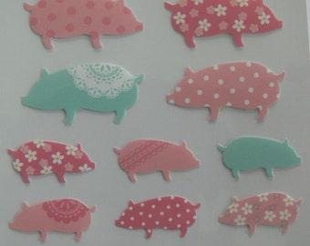 Japan Mind Wave Kawaii PIG PIGGY sticker sheet JOY 74921