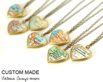 Custom Map Necklace - Small Vintage Heart Locket - Brass Chain, Personalized, Valentine's Gift for Her, Gift under 40