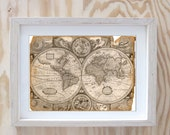 World map print  Antique  Digital Collage Art Print Home Decor Wall Hanging Home  Interior Design (032)