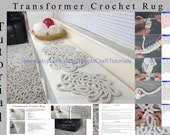 PDF Pattern Tutorial Crochet Rug, Transformer crochet cotton rug  with step-by-step photos and explanations. Instant download