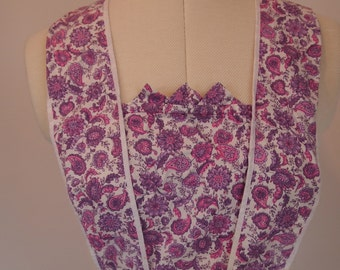 Vintage 1970s full length maxi apron in pink and purple paisley and floral pattern design
