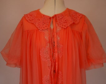 On Sale Vintage 1960s flouncy coral orange pink bri nylon and lace dressing gown with tie front by Kayser