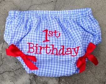 First Birthday Diaper Cover, birthday clothes, 1st birthday outfit, red white and blue summer birthday clothing, 1st birthday photo prop