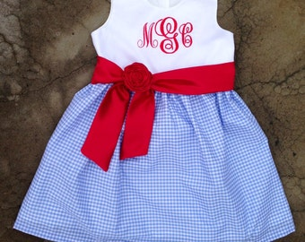 Custom Boutique Dorothy Monogrammed Baby and Girls beach dress made with blue gingham and a 3 initial red embroidered monogram