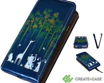 "Samsung Galaxy S3 Artist Designed flip case / cover - unique & colorful leather style flip case ""Paint The Rainforest"" elephant, giraffe"