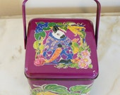 """DEPARTMENT 56 - Beautiful & Cheerful """"Bunny Crunch Time"""" Basket Square Tin with handle-Easter Theme"""