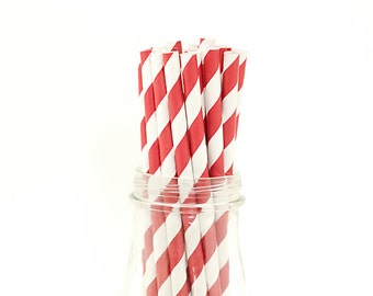 100 Red Paper Straws Striped Retro Vintage Style Carnival Circus Wedding Birthday Bridal Baby Shower W/Printable Flags