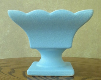 Vintage Hull Pottery 158.  Robins Egg Blue.  Footed Compote Candy Dish. Square Vase.
