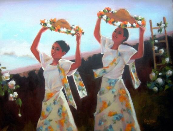 Filipina Folk Dancers...Original Oil Painting by Maresa Lilley, SND