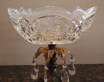 Vintage Crystal Bowl on Brass Pedestal and Marble Base