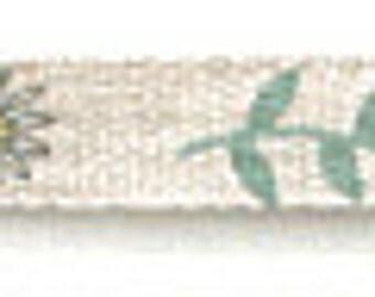 "SALE Shinzi Katoh Linen Ribbon 12mm... ""Flower Garden""  Priced Per Yard"