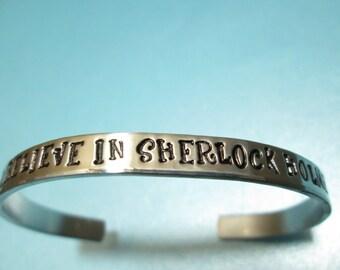 """Sherlock Holmes Jewelry inspired """"I believe in Sherlock Holmes"""" Bracelet"""