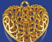 ON SALE Valentines Silver OR Goldtone Openwork Pendant choose color