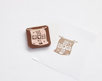 Hand Carved Rubber Stamp / Quilt