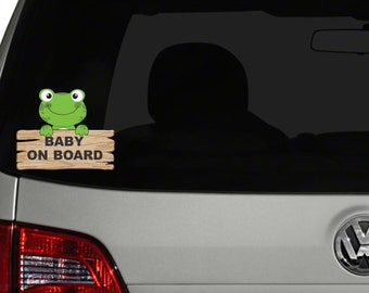 Baby On Board Car Decal - Car decal - Baby on Board - Vehicle Decal - Frog Car Decal
