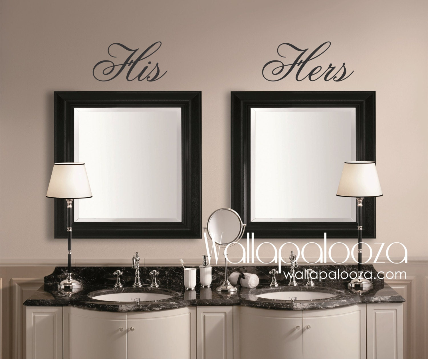 Bathroom wall decor his and hers wall decal mirror decal for Bathroom decor mirrors