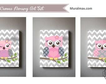 art for children owl nursery art set of 3 canvas art baby girls room art baby girl room nursery art set