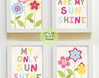 Nursery Art - You are My Sunshine Prints for Nursery or Kids Room,  Baby Nursery Decor, set of four 11x14 Wall Art