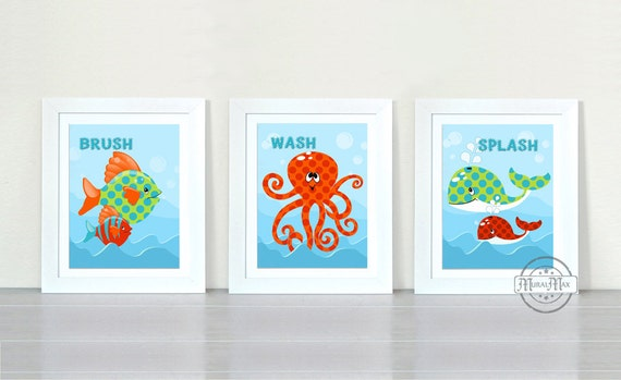 Wall Art For Childrens Bathroom : Ocean theme prints personalized kids wall art bathroom by