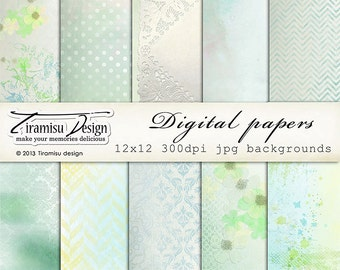 Digital Scrapbooking Vintage Papers Pack 12