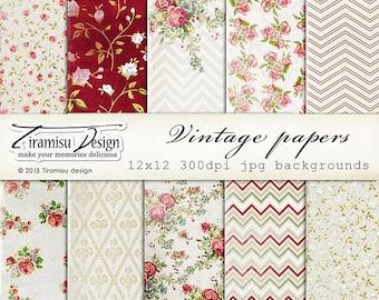 Vintage Scrapbook Papers and Digital Paper Pack 17
