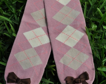 Mauve Argyle Leg Warmers- customize available