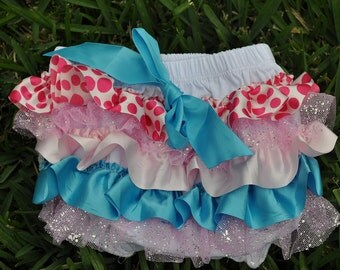 Blue and Pink Ruffle Bloomer