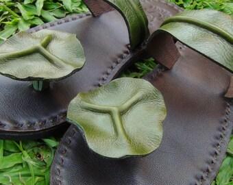 Handmade Leather Sandals Women and Men***Lotus leaves design***