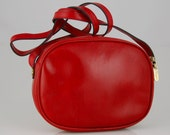 1980s FERRAGAMO Small Red Leather Cross Body Purse Italy